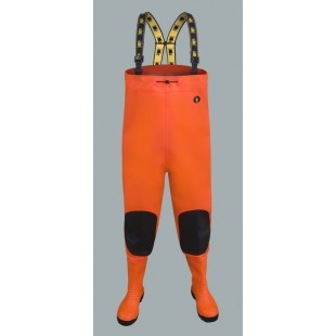 Waterproof Fluo Chest Waders Max S5 (Safety Boots S5 And Knee Reinforcement) Sbm01 Fluo