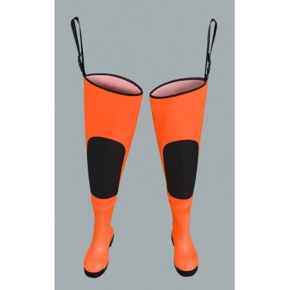 Waterproof Fluo Thigh Waders Max S5 (Safety Boots S5 And Knee Reinforcement) Wrm02 Fluo