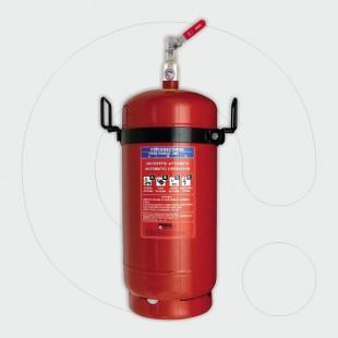 Aparat zjarrfikës 50 kg pluhur ABC, për aplikim lokal, me lidhëse siguruese