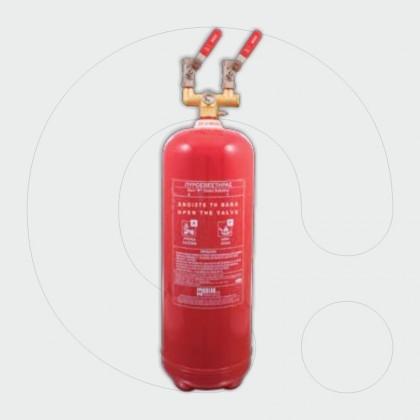 Aparat zjarrfikës, 9 l solucion i klasit F, për aplikim lokal, me dy dalje