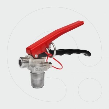 Valvulë për aparat për shuarjen e zjarrit me CO2, me dalje frontale